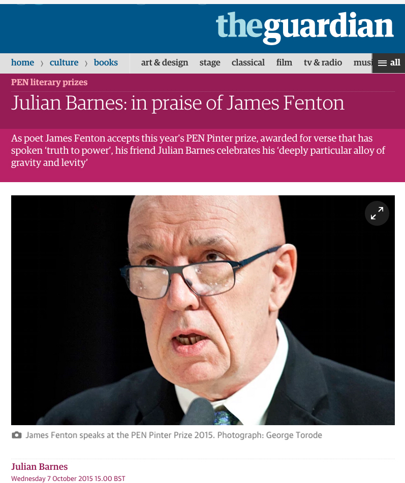 James Fenton Portrait: The GUARDIAN